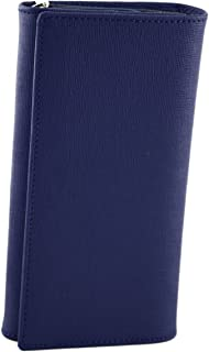 Made In Italy Saffiano Leather Woman Wallet Color Blue - Accessories