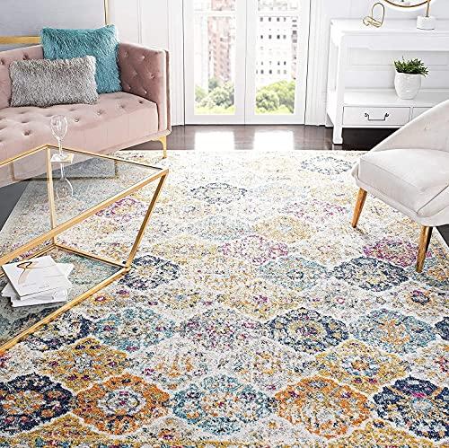 "Safavieh Madison Collection MAD611B Boho Chic Floral Medallion Trellis Distressed Non-Shedding Living Room Bedroom Area Rug, 5'3"" x 5'3"" Square, Cream / Multi"