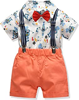 Baby Boys Gentleman Outfit Suits, Baby Boys Short Pants Set, Short Sleeve Shirt+Suspender Pants+Bow Tie 4Pcs(1-9 Years)