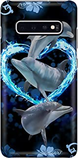 Dolphins in The Heart Phone Case for Samsung Galaxy S9 Plus - Silicone Case with 3D Printed Design, Slim Fit, Anti Scratch, Shock Proof, IMD Soft TPU Cover Case
