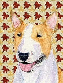 Caroline's Treasures SS4360GF Bull Terrier Fall Leaves Portrait Flag, Small, Multicolor