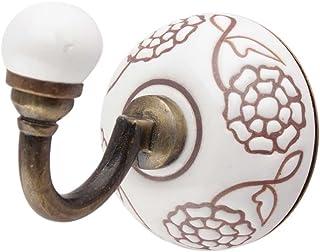 IndianShelf Crochet mural en céramique fait à la main Motif fleur de souci Blanc