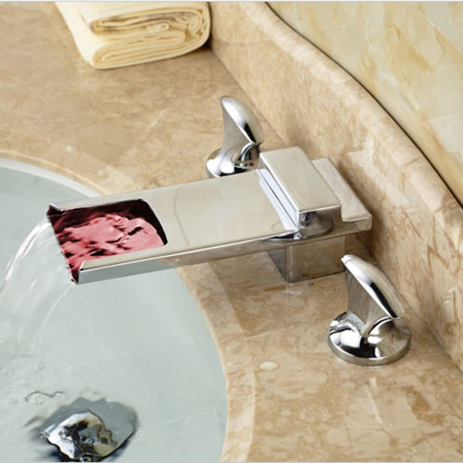 Maifeini Modern Bathroom Waterfall Basin Square Tap Spout Chrome Plated Brass Faucets Click