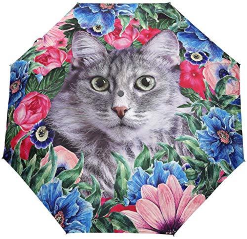 Pliant Auto Ouvert Fermer Parapluie Mignon Floral Fleur Chat Imprimer Coupe-Vent Voyage Léger Anti-UV De Protection Pluie Parapluie Compact Pour Garçons Fille Hommes Femmes