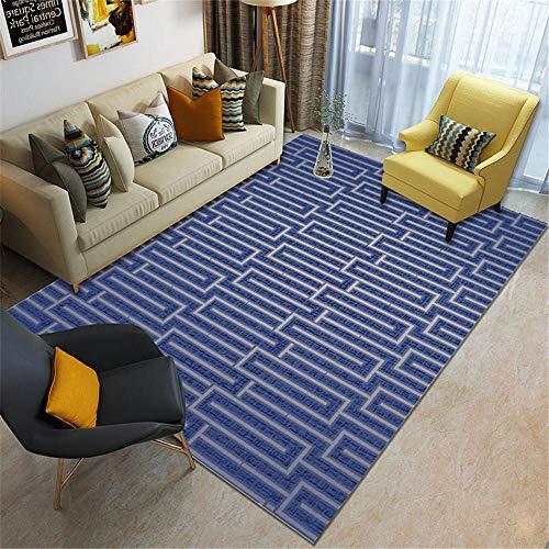 Kunsen Alfombra del Piso Alfombra Suave diseño de Rayas Azules Alfombra de Estilo Minimalista Sala de Estar Alfombras De Juegos para Bebes Alfombras Juveniles Dormitorio Azul 180X280CM