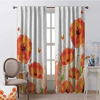 red poppy print eyelet curtains