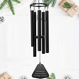 ASTARIN Wind Chimes Outdoor Deep Tone, 30 Inches Amazing Grace Wind Chime with 5 Metal Tuned Tubes, Black Elegant Memorial Wind Chimes for Friends, Family, Metal Wind Bell Chime for Home, Garden