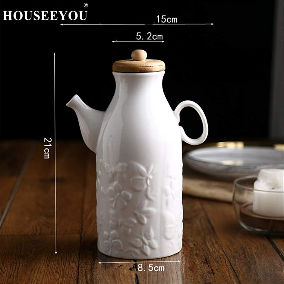 Creative Ceramic Olive Oil Bottle Sauce Jar Jug for Kitchen Seasoning Spices Vinegar Pot Gravy Boat Oil Dispenser Kitchen Tools