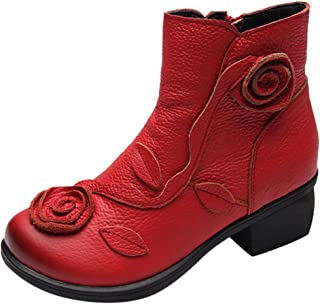 HYIRI Leather Retro Boots,Women Ethnic Style Snow Boots Hand-Stitched Flowers Shoes