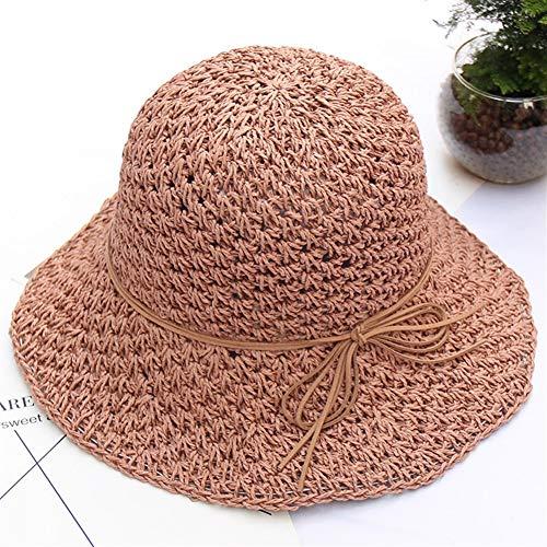Bin Zhang Cappello Femminile Estate Coreano letterario retrò Fatto a Mano all'Uncinetto Cappello da Sole all'aperto Cappello di Paglia Cappello ombreggiatura, Cannuccia, Pasta di Fagioli, Regolabile