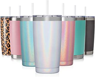 CIVAGO 20oz Insulated Stainless Steel Tumbler, Coffee Tumbler with Lid and Straw, Double..