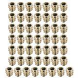 sourcing map 50Stk.Gewinde Einsatzmuttern Zinklegierung Hex-Spülen M5 Innengewinde 10mm Länge