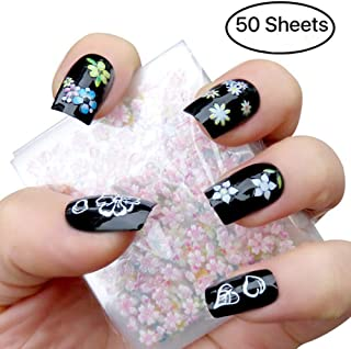 Makartt 3D Nail Art Stickers 50 Sheets Self-adhesive Nail Decals Tip Mix Color Flower Decal Decoration, S-04