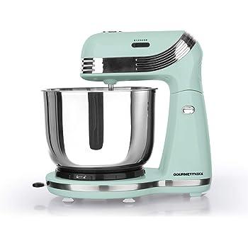 Gourmet Maxx Robot de cocina eléctrico, estilo retro, dispositivo de cocina multifunción, estilo retro de los años 50, niveles de velocidad, acero inoxidable, mezclas de nata, 250 W verde menta: Amazon.es: Hogar