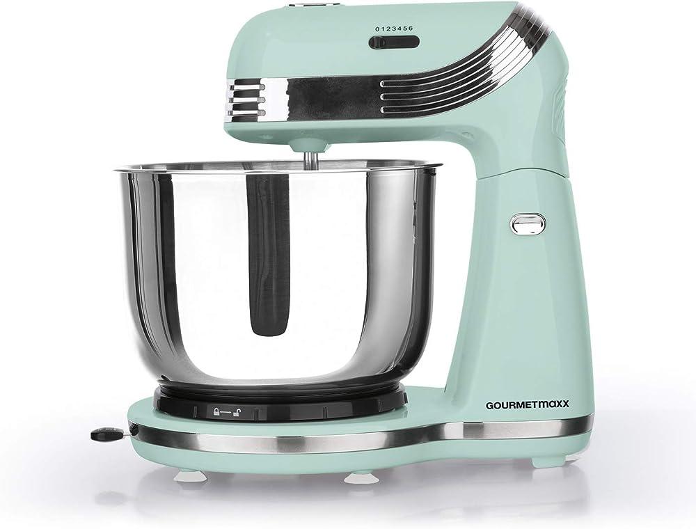 Gourmetmaxx robot da cucina, mixer multifunzionale per mescolare, miscelare e impastare in stile retrò GOURMETmaxx Robot de cuisine