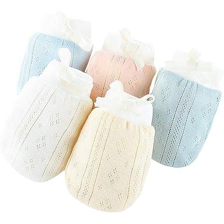 赤ちゃんミトン 夏 ベビー 手袋 綿100% 柔らかく 通気性も抜群 かきむしり防止 保護 出産祝い 5組セット