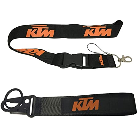 Ewein 1pc Lanyard 1pc Wristlet Keychain Key Ring Embroidered Logo Motorcycle Superbike Motorrad Motorsport Scooter Car SUV Truck House Keys Chain Office ID Biker Accessories Works with KTM