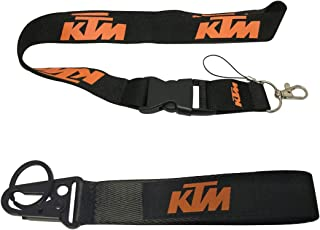 Ewein 1pc Lanyard + 1pc Wristlet Keychain Key Ring Embroidered Logo Motorcycle Superbike Motorrad Motorsport Scooter Car SUV Truck House Keys Chain Office ID Biker Accessories Works with KTM