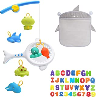 Bath Toys 45pcs with Fishing Net, Floating Animals, Fish Catching Game Mesh Bath Toy Organizer Set of 1 Holders+36 Soft Fo...
