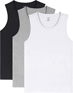 Men's Cotton Crew Neck Undershirts Sleeveless Tank Tops Fitted Shirts in 1/3 Pack