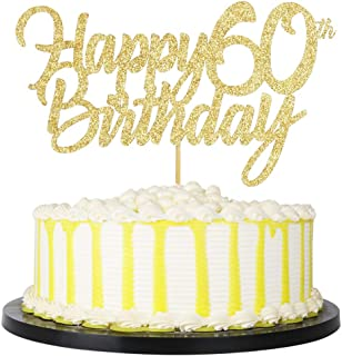 PALASASA Gold Happy Birthday cake topper - Hello 60, Cheers to 60 Years, 60 Anniversary/Birthday Cake Topper Party Decoration (60th)