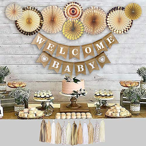 YARA Baby Shower Decorations Gender Neutral for Boy or Girl Kit, Rustic Welcome Baby Banner in Burlap, Gold and White Gender Reveal Decor Set, Paper Fans, Oh Baby Party Supplies, Boho
