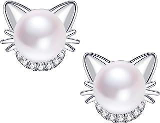 d41e6d4e9 Girls Cat Stud Earrings Freshwater Pearl Stud Earrings 18K Gold Plated 925 Sterling  Silver Ear Studs