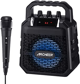 $48 » Speaker and Microphone ARCHEER Portable Karaoke Singing Machine for Kids&Adults PA Speaker System with Mic and Light, Voice Amplifier, Ideal for Party, Singing, Small Class, etc.