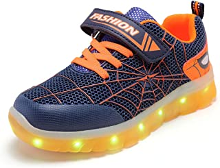 Unisex Bambini Uomo Ragno LED Light-up Scarpe,7 Colori USB Carica Lampeggiante Luminosi Running Sneakers,Light Up Fashion ...