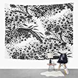 Qamida Simple Tapestry Flower Zentangle Scale Floral Feminine Blossoms Calico Black and White Tapestry for Bedroom Room Decor Wall Hanging Wall Art Tapestry Picnic Mat Beach Towel Bed Cover 50'x60'