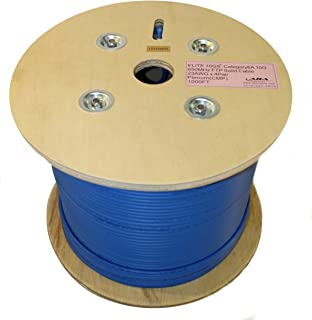 Infinity Cable CAT6A 650MHz 10G Shielded Solid Plenum FTP 100% Pure Copper, 1000Ft. Bulk Cable Reel, Blue