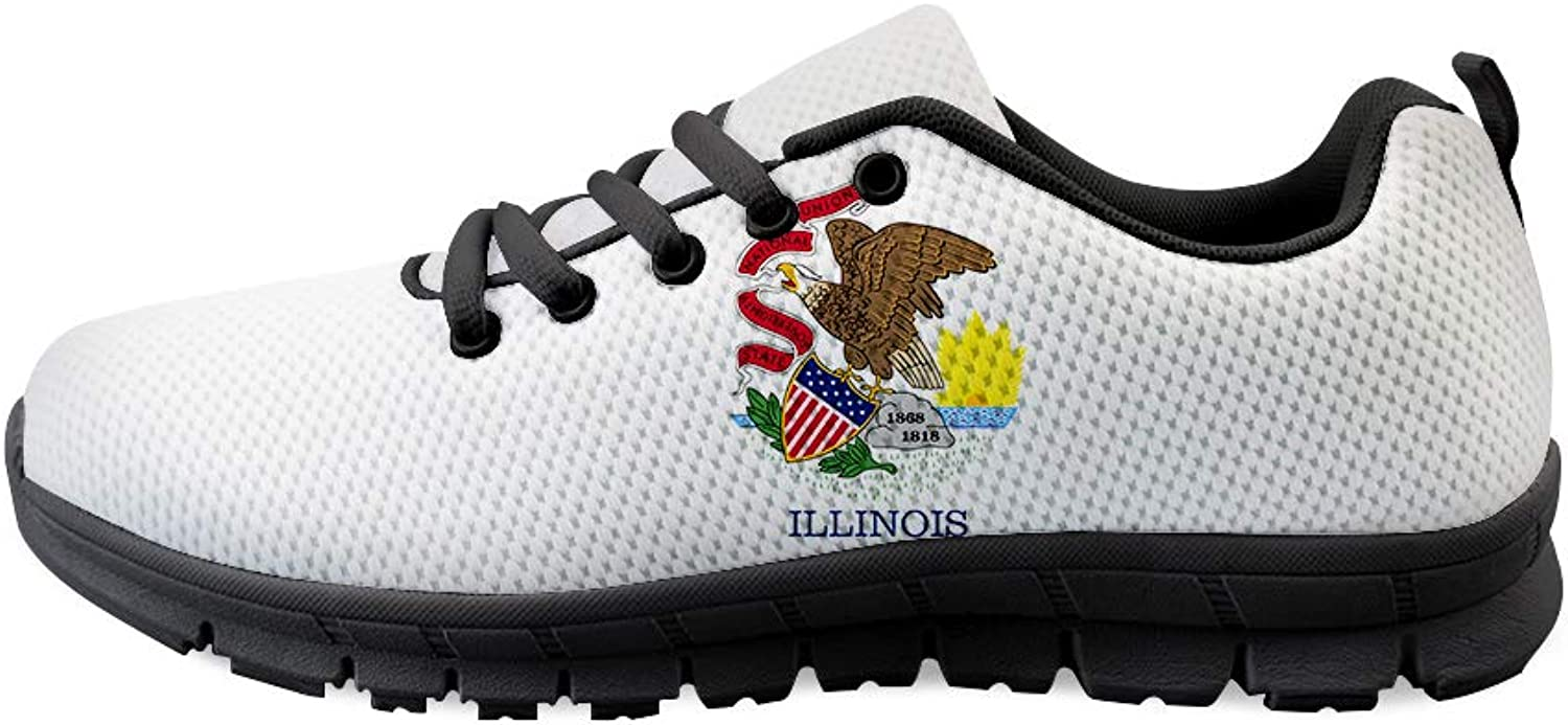 Owaheson Lace-up Sneaker Training shoes Mens Womens Illinois Flag