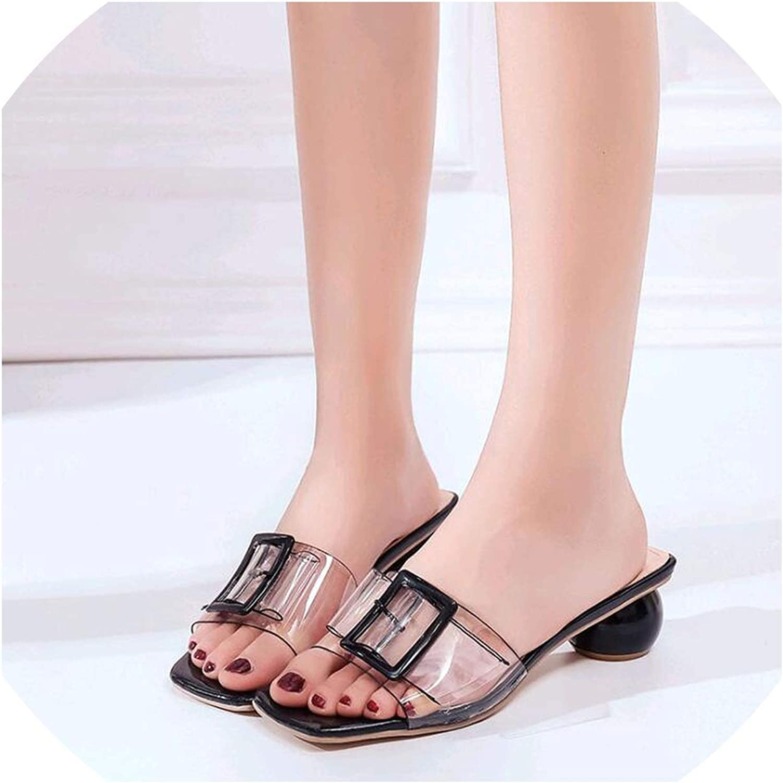 goldsmyth Women Slipper High Heels Summer Wild Summer Women shoes Word Buckle Simple Sandals