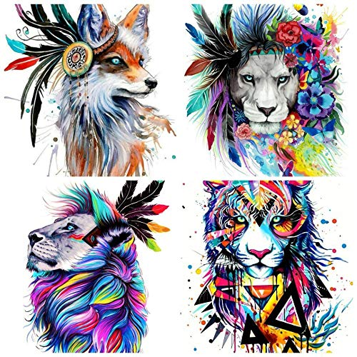 4 Pack 5D Diamond Painting Kits for Adults Colored AnimalsFull Drill for Home Wall Decor