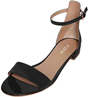 Womens Chic Block Low Heel Sandals Open Toe Ankle Strap Patent Comfortable Walking Dress Flat Shoes