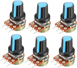 uxcell 6Pcs 50K Ohm Variable Resistors Single Turn Rotary Carbon Film Taper Potentiometer with Knobs