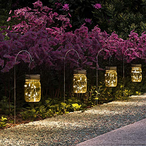 GIGALUMI Hanging Solar Mason Jar Lights, 6 Pack 30 Led String Fairy lights Solar Lanterns Table Lights, 6 Hangers and Jars included. Great Outdoor Lawn Decor for Patio Garden, Yard and Christmas Decor