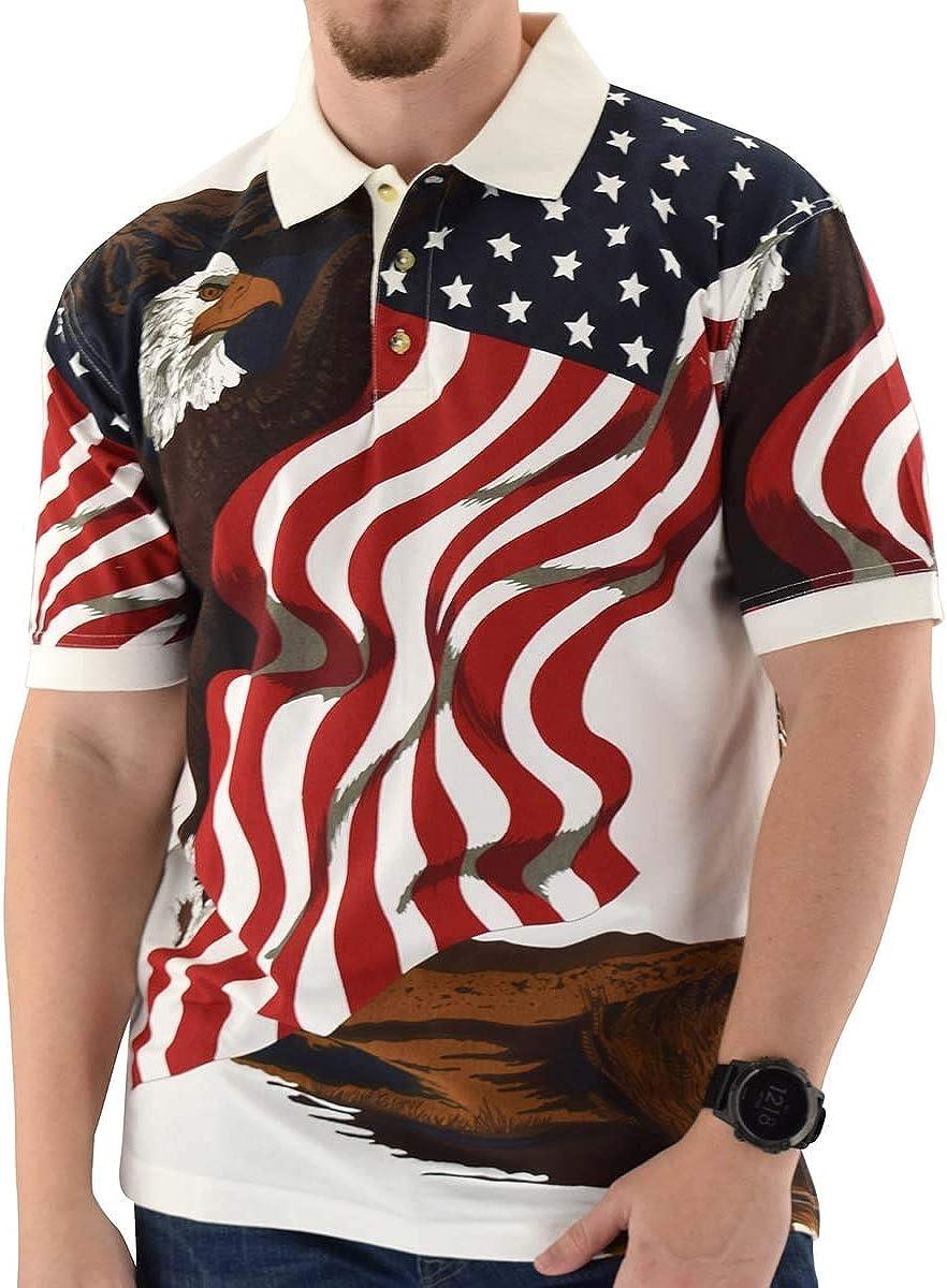 Cotton Traders Allover Dedication Patriotic Polo Excellent Men's Shirt