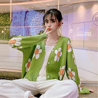 LJLLINGA Women's Korean Style Floral Printing V-Neck Knitted Cardigans Female Casual Oversized All-Match Sweater