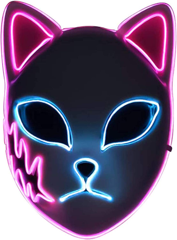 Demon Slayer Mask,LED Halloween Mask Japanese Anime Demon Slayer