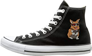 FOOOKL Corginator Canvas Shoes High Top Casual Black Sneakers Unisex Style