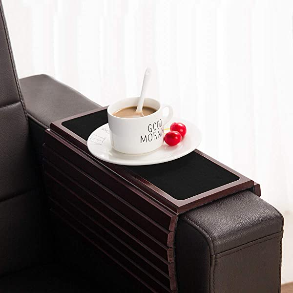 GEHE Sofa Arm Tray Table For Couch Flexible Foldable Sofa Tray Couch Arm Table Perfect For Drinks Snacks Remote Control Or Phone Great Arm Tray For Couch Armrest Mahogany