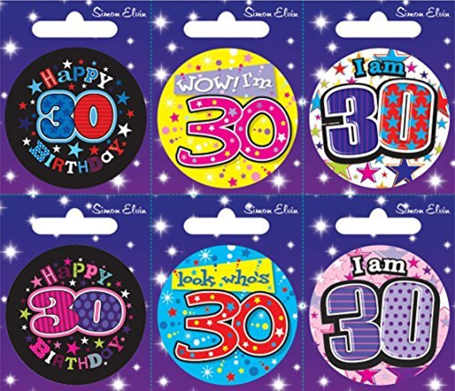 Card of 6 Happy Birthday Badges - Age 30 by Creative