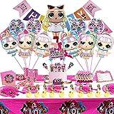 SVZIOOG Surprise doll theme party decorations 96 pieces luxury set 11 pieces aluminum foil balloons