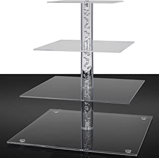 Donut Stand, 4 Tier Square Cupcake Stand,Tiered Serving Stand, Donut Rack,Cupcake Tree Display,Decorative Happy Birthday Cake Stands,Dessert Stands Princess Cupcake Towers - Acrylic Riser