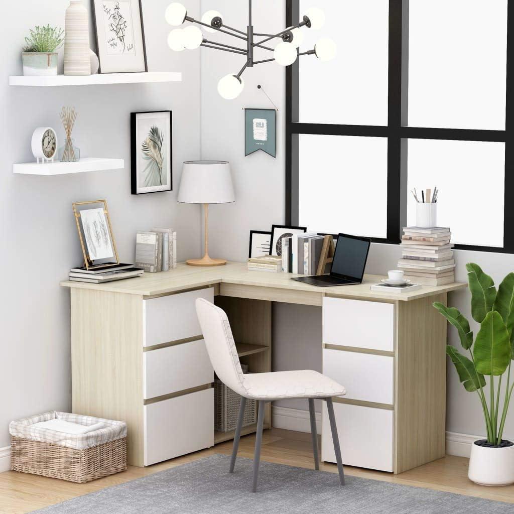 vidaXL Over item handling ☆ Corner Desk L-Shaped Drawers Sleek Spacious Storage Jacksonville Mall Home