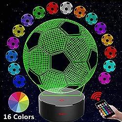 3D Illusion Lamp, Winzwon Schlafzimmer Schreibtisch Tisch Nachtlicht, USB-Stromversorgung 16 Farben 3d light Blinken Berührungsschalter Schreibtischlampe für Kinder Weihnachts geschen (Fußball)