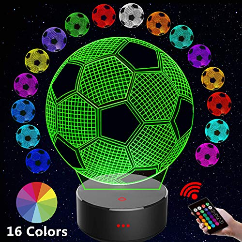 3D Night Light, Winzwon 3D Optical Illusion Night Light, 16 Colors Change Touch and Remote Control LED Table Desk Lamp with USB Decorative Remote for Boys Girls Bedroom Birthday Gifts (Football)