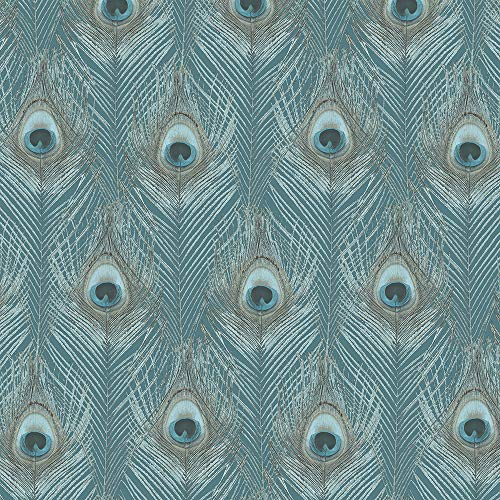Norwall G67978 Peacock Wallpaper, Green, Aqua, Turquoise, Tropics Blue