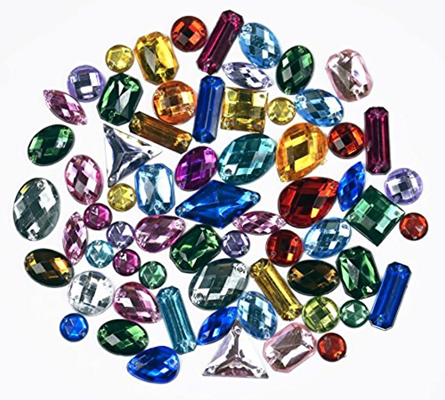 ALL in ONE Mixed 8 Shapes Sew on Acrylic Diamante Rhinestone Crystal Gemstone with Hole (Mixed Color)
